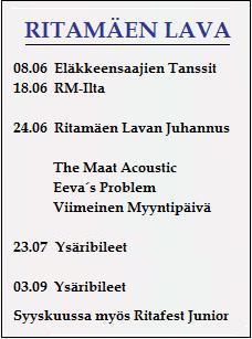 Tulossa Ritamäen-Lavalla
